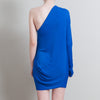 Greta Constantine Blue One Shoulder Mini Dress