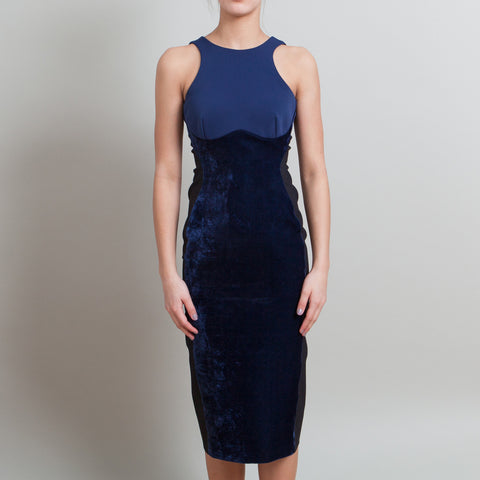 Stella McCartney Bodycon Blue Velvet Dress