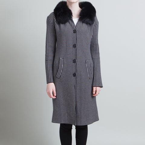 Christian Dior Black and White Printed Coat with Fur Collar