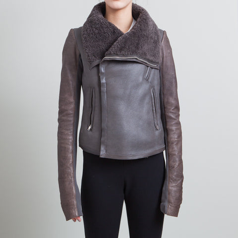 Rick Owens Grey and Brown Leather Shearling Jacket