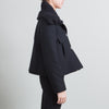 Smythe Black Wool Coat with Knit Collar