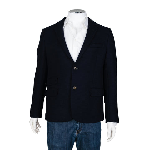 Gucci Blue Single Breasted Textured Fabric Blazer