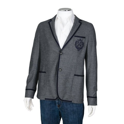 Gucci Grey Single Breasted Wool Blazer with Piping Detail