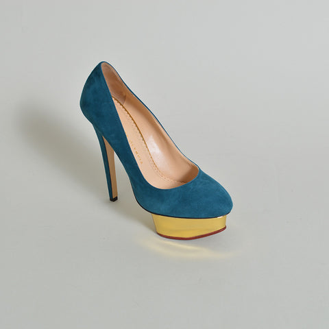 "Charlotte Olympia Teal Green Suede ""Dolly"" Heels"