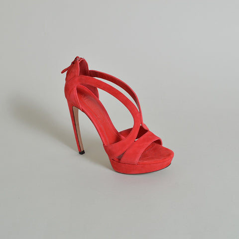 Alexander McQueen Red Suede Strappy Pumps