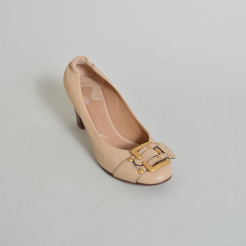 Chloe Nude Leather Pumps with Buckle