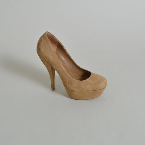 Yves Saint Laurent 'Tribute' Platform Pumps in Beige Suede