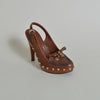 Gucci Brown Platform Slingbacks with Studs