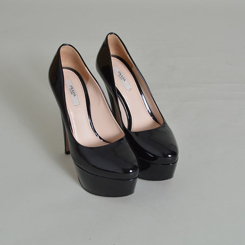 e2dda78beba Prada Black Patent Leather Platform Pumps – SuiteAdore