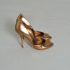 Gucci Gold Metallic Peep Toe Pumps