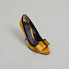 D&G Yellow Satin Round Toe Pumps with Bow