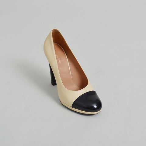 Dries Van Noten Cream and Black Cap-Toe Pumps