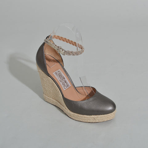 "Salvatore Ferragamo ""Beawy"" Grey Leather Espadrille Wedge"