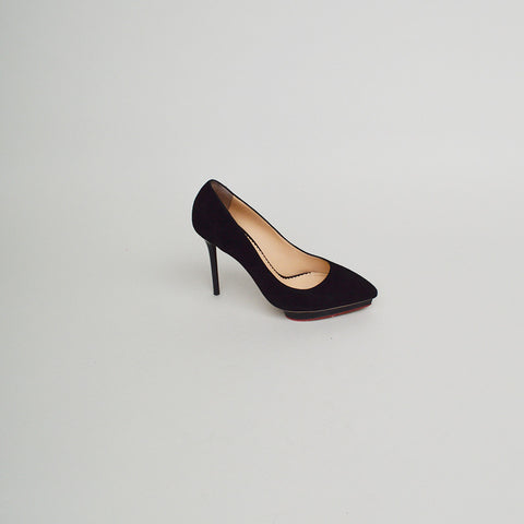 Charlotte Olympia Black Suede Pointed-Toe Platform Pumps