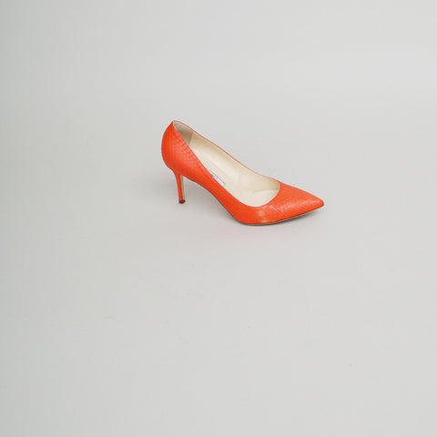 Brian Atwood Orange Snakeskin Pointed Toe Pumps