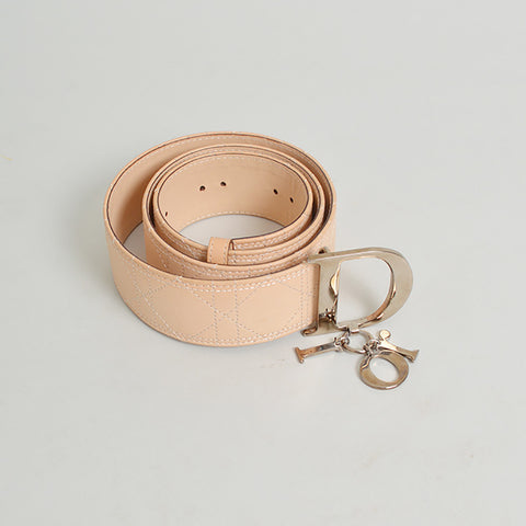 Dior Tan Leather Logo Belt