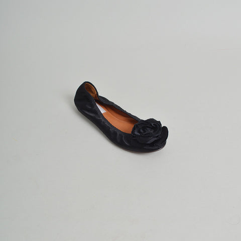 Lanvin Black Leather Floral-Embellished Ballet Flats