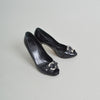 Christian Dior Black Patent Peep-toe Pumps