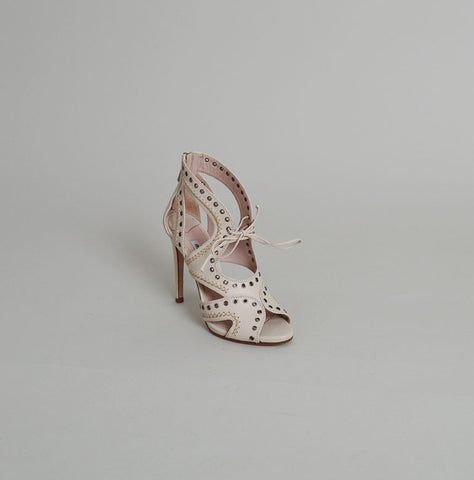Miu Miu Ivory Leather Lace-Up Grommet Sandal Heels