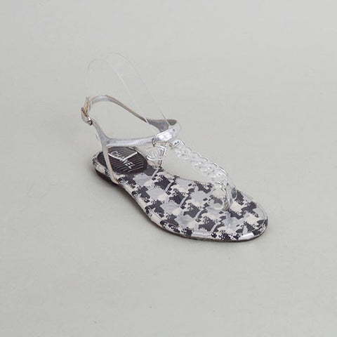 "Chanel ""Entre Doigts"" Black White Metallic Pattern Chain Clear T-Strap Sandals"