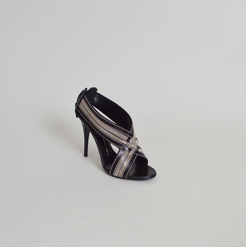 Giuseppe Zanotti NEW Taz 110 Black Leather and Silver Chain Sandals