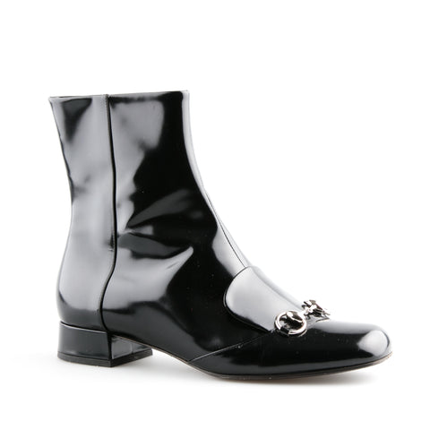 Gucci Horsebit Patent Leather Ankle Boots