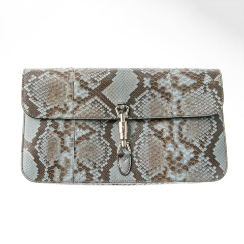 Gucci Blue Snakeskin Large Clutch