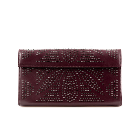 Alaïa Leather Structured Clutch with Stud Embellishment