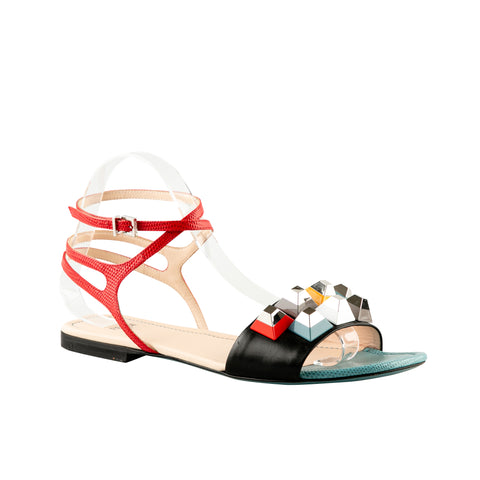 Fendi Rainbow Pyramid Studded Sandals