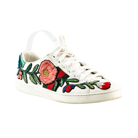 Gucci 'New Ace' Sneakers with Floral Embroidery