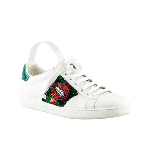 Gucci 'New Ace' Sneakers with Beaded Lip Embellishment