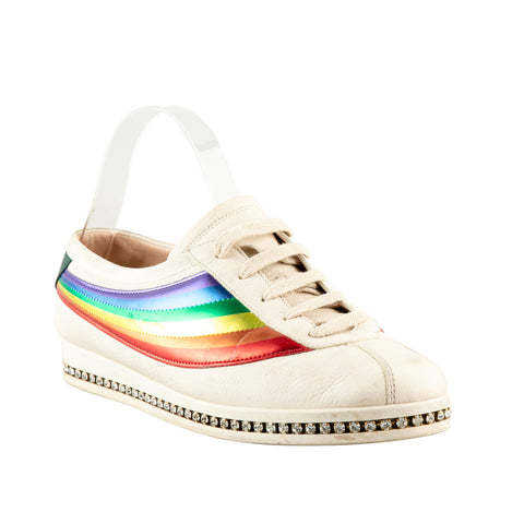 Gucci 'Falacer' Metallic Rainbow Sneakers with Crystal Embellishment