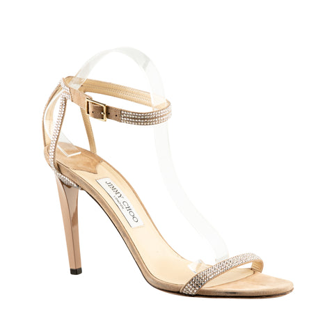 Jimmy Choo Suede Stiletto Sandals with Rhinestones
