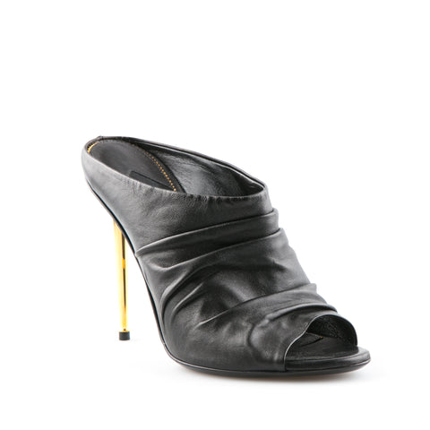 Tom Ford NEW Ruched Leather Mules