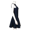 Alaïa Navy Blue Fit and Flare Dress with Geometric Cut Out