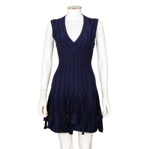 Alaïa Navy Blue Wool Blend Dress with Knots