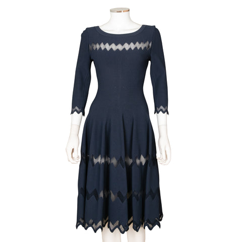 Alaïa Fit and Flare Dress with Diamond Shape Cut Outs