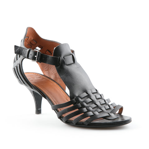 Givenchy Black Leather Woven Sandals
