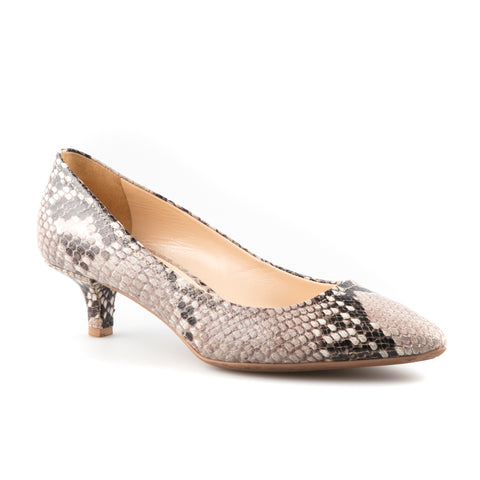 Prada Snakeskin Pointed Toe Low Heel Pumps