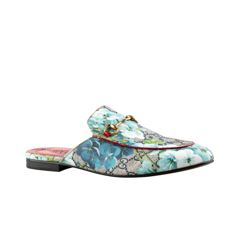 Gucci 'Princetown' Monogrammed and Floral Bloom Flats