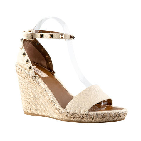 Valentino Rockstud Pebbled Leather Weaved Platform Wedge Sandals