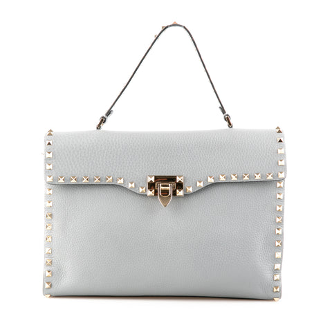 Valentino Grey Grained Leather Rockstud Top Handle Bag