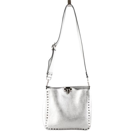 Valentino Metallic Grained Leather 'Rockstud' Crossbody Bag