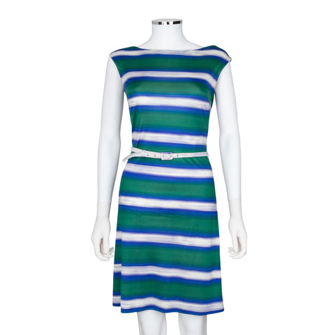 Prada Sleeveless Striped Silk Dress