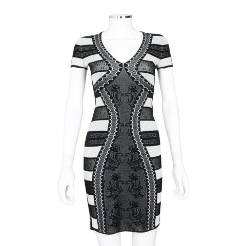 Alexander McQueen Black and White Printed Fitted Dress