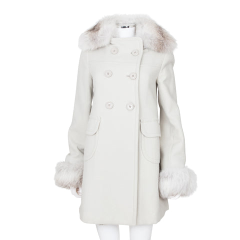 Prada Double Breasted Wool Coat with Fox Fur Trimmings