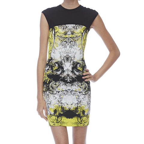 Roberto Cavalli Black & Yellow Print Sleeveless Dress