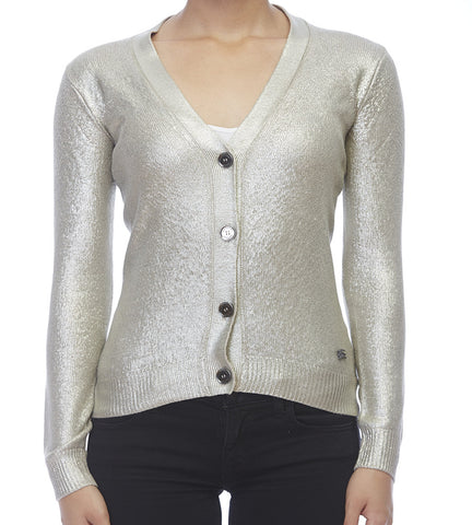 Burberry Metallic Silver Textured Check Cardigan