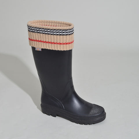 Burberry Black Rain Boots with Check Trim