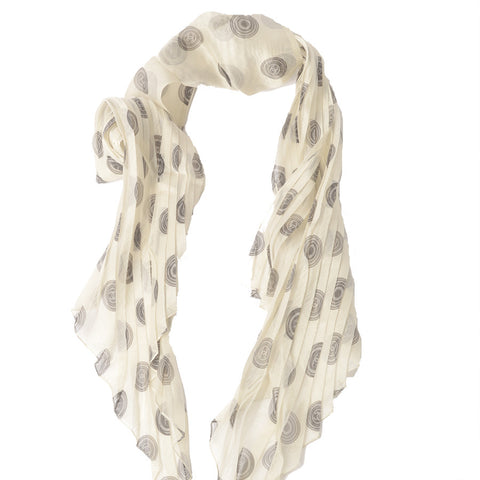 95f8ab58 Chanel Ivory & Black Pleated Silk Scarf – SuiteAdore